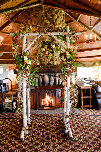 Birchwood Branches Made Up The Arch At End Of Aisle Venue And Catering
