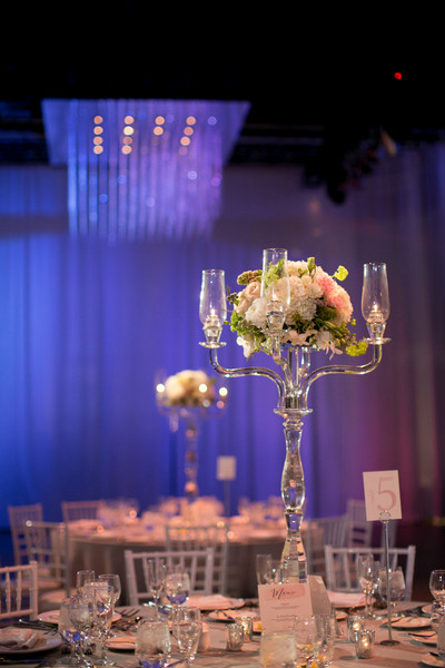 Classic formal gray green pink purple white ballroom canada clear candelabras served as sleek and stylish centerpieces for the reception venue liberty grand junglespirit Image collections
