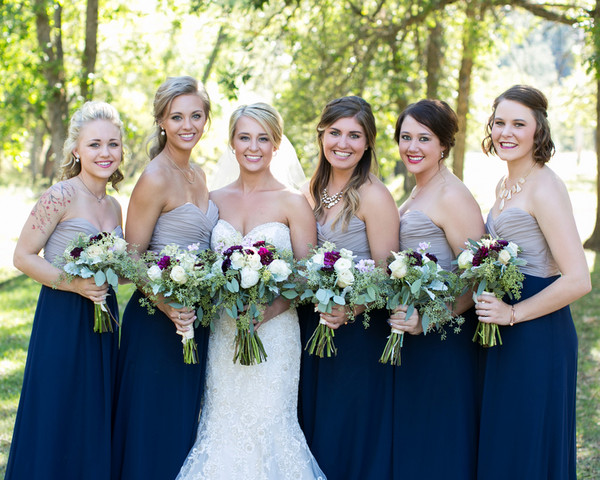 Allys Maids Looked Lovely In Strapless Chiffon Gowns With Tan Bodices And Navy Colored