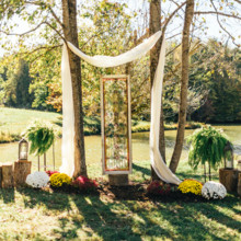 <strong class='info-row'>Erin Morrison Photography</strong> <div class='info-row description'><html>  <head></head>  <body>    A beautiful stained glass window pane decorated the outdoor altar.  Venue: Tuckaway Cove   </body> </html></div>