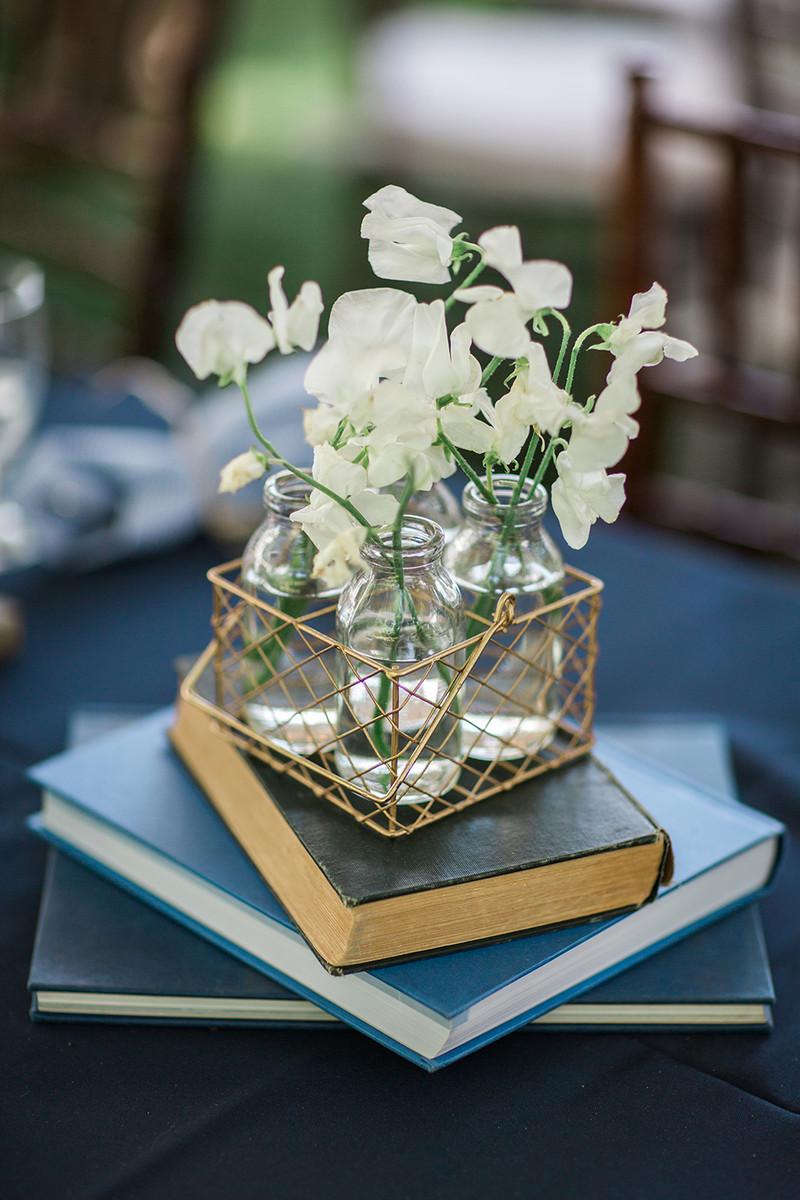 Shabby Chic Vintage Blue Gold White Centerpiece Garden Massachusetts