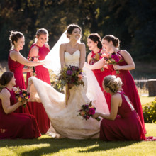 "<strong class='info-row'>Femina Photo + Design</strong> <div class='info-row description'><html>  <head></head>  <body>    The bridesmaids wore burgundy-hued halter gowns.  Venue:    <a href=""https://www.weddingwire.com/biz/dupont-country-club-and-brantwyn-estate-wilmington/4c1b5d56634cbc07.html"">Brantwyn Estate</a>  Bride's Gown:    <a href=""https://www.weddingwire.com/wedding-photos/dresses/matthew-christopher"">Matthew Christopher</a> from    <a href=""https://www.weddingwire.com/biz/jennifers-hockessin/094d5a527d6af337.html"">Jennifer's</a>  Bridesmaid Dresses:    <a href=""https://www.weddingwire.com/wedding-photos/bridesmaids/allure-bridesmaids-bridesmaid"">Allure Bridesmaids</a> from    <a href=""https://www.weddingwire.com/biz/claires-fashions-inc-wilmington/f78419da7adfe797.html"">Claire's Fashions</a>  Hair and Makeup: Saiko Beauty Bar and Salon  Floral Design:    <a href=""https://www.weddingwire.com/biz/a-garden-party-elmer/7f876b0ec1188a61.html"">A Garden Party</a>   </body> </html></div>"