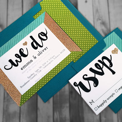 1464362430590 Glitter Green Teal2 Indianapolis wedding invitation