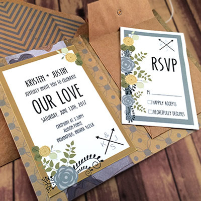 1464362451955 Retro Blue Gold Indianapolis wedding invitation