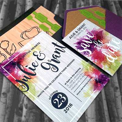 1465439391371 Colorful Purple Lime2 Indianapolis wedding invitation