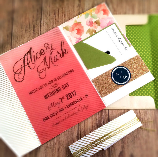 1473535179137 Coral Floral Pocket 1 Indianapolis wedding invitation