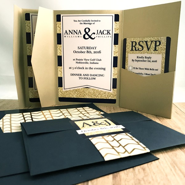 1476833702725 Navy Gold Pocket 2 Indianapolis wedding invitation