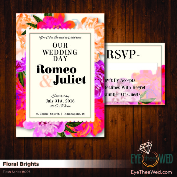 1481214354392 Floral Brights Indianapolis wedding invitation