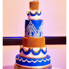 220x220 sq 1502887901737 white blue and gold indian wedding cake