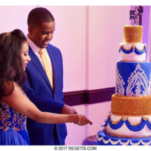 220x220 sq 1502887901775 navy blue white and gold wedding cake