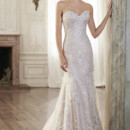 Holly  Timeless romance is found in this slim A-line wedding dress featuring a delicate, sweetheart neckline and lace motifs adorning illusion tulle. Finished with covered button over zipper and inner elastic closure.