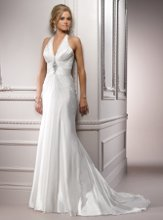 Acapulco - A3584  Hollywood glamour is epitomized in this halter gown adorned with a dazzling Swarovski crystal beaded embellishment at the bodice. Vicenza Organza creates a slim A-line silhouette.