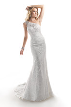 Zola 4MC867 Vintage inspired knit Chantilly lace over Eleganza Satin with beaded shoulder featuring Swarovski crystals.