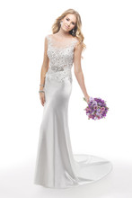 Connor 4MS898 Bead embroidered lace on illusion tulle bodice featuring Swarovski crystals and Demir Stretch Satin skirt. Detachable grosgrain ribbon belt with beaded motif also features Swarovski crystals.