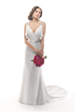 Sandi 4MW874 Cascading flutter sleeves create an allure about this gown that draws one in. Paris Chiffon drapes the bodice before falling gracefully to the hemline. Swarovski crystal embellishments graze the shoulders and accent the hip. Finished with zipper and crystal button closure.