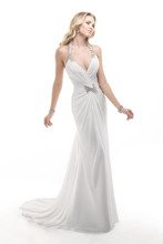 Taylor 4MW908 Rosalie Chiffon with beaded embellishments featuring Swarovski crystals.