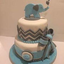 220x220 sq 1494369201 8a1280524e1e92c6 blue elephant baby shower cake