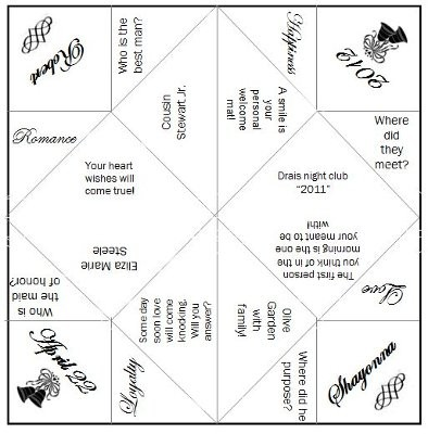 Beautiful Wedding Cootie Catcher Template Photos - Unique Wedding