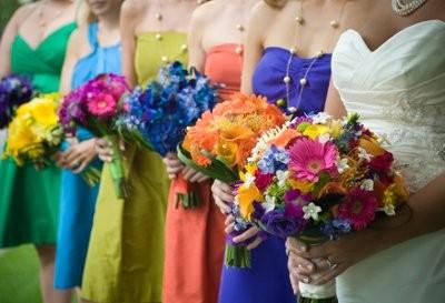 a multicoloredrainbow theme Weddings Style and Decor