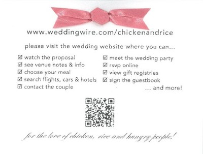 in the invitations we had the rsvp card wenvelope as well as a separate card with wedding website info on it