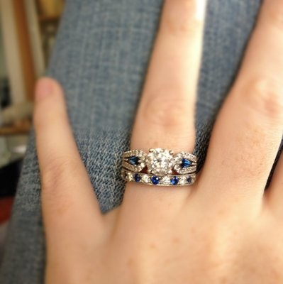 post your enement rings after the wedding band was added - Colored Wedding Rings