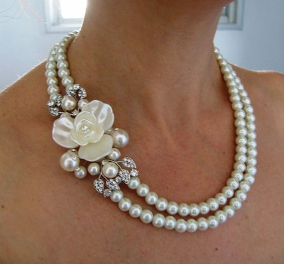 Different dress neckline styles with necklaces
