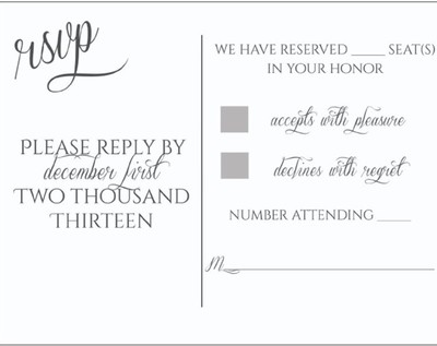 RSVPs and those who used Number of seats reserved in your honor – Sample Wedding Rsvp Cards