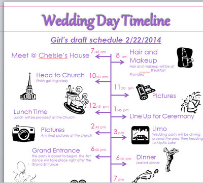 My Timeline Sample - And Template Link | Weddings, Planning, Fun