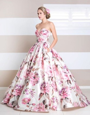 Floral print wedding dress weddings beauty and attire for Floral print dresses for weddings