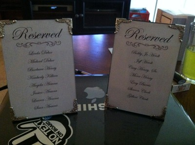 Reserved Signs--DIY | Weddings, Do It Yourself, Style and Decor ...