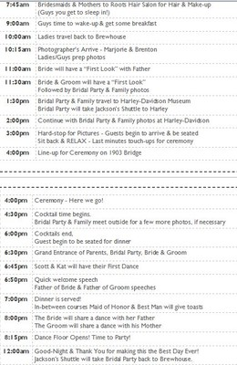 Day Of Schedule For 5pm Weddings Weddings Planning Wedding