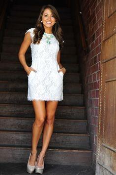 Bridal Shower Dress Rehearsal Dinner Dress little white dress