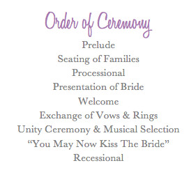 Order of Ceremony | Weddings, Planning, Fun Stuff, Etiquette and ...