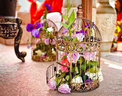 Flower decoration ideas for home- Colorful birdcage flower decoration