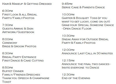 Wedding day schedule? Help Please! | Weddings, Planning, Etiquette ...
