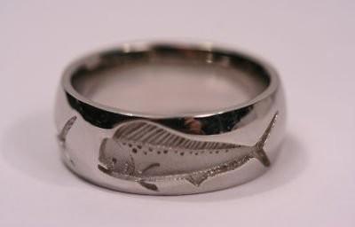 Mens rings mens wedding bands fish for Mens fishing wedding bands