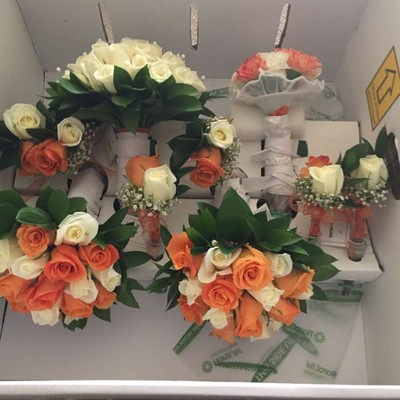 i ordered my bouquets and boutenierres from costco they were fantastic i made sure i had enough vases to put them in when they arrived as well as space in