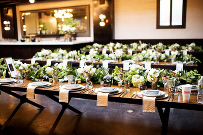 We Also Had Long Rectangular Tables. I Did A Greenery Runner Down Each Table  With Smaller Vases Scattered Throughout. Our Table Numbers Were In Gold ...