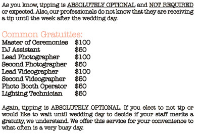 How Much To Tip Wedding Vendors Weddings Etiquette And Advice
