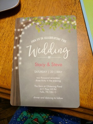 we just got our invitations in and im obsessed we ordered them from sams club they are only 68 each and comes with a white return addressed envelope - Sams Club Wedding Invitations