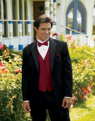 Picture suggestion for Black Suit Black Shirt Red Bow Tie