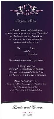 Wording for in lieu of favors a donation in honor of weddings