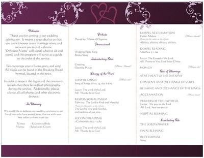 Wording for wedding program (traditional Catholic mass) | Weddings ...