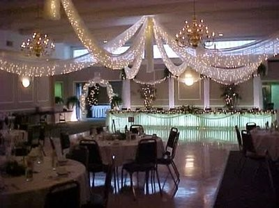 How to hang tulle for the reception cieling with xmas lights ...