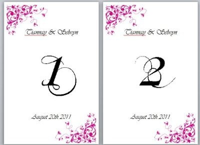 Need table numbers template weddings do it yourself for Table numbers for wedding reception templates
