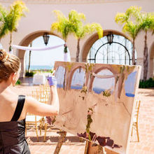 Photo of Laura Jane Fine Art | Live Wedding Painter in Santa Ana, CA - Setting up!