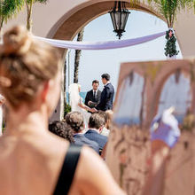 Photo of Laura Jane Fine Art | Live Wedding Painter in Santa Ana, CA - Laura at our ceremony