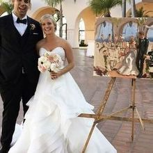 Photo of Laura Jane Fine Art | Live Wedding Painter in Santa Ana, CA - Us with the painting after the ceremony