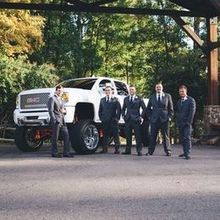 Photo of les atkins Photography in Raleigh, NC - Groomsmen by the Grooms truck!