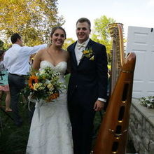 Photo for Miriam Weber Brown, Harpist Review - Us and Miraim Weber Brown's Harp after our ceremony!
